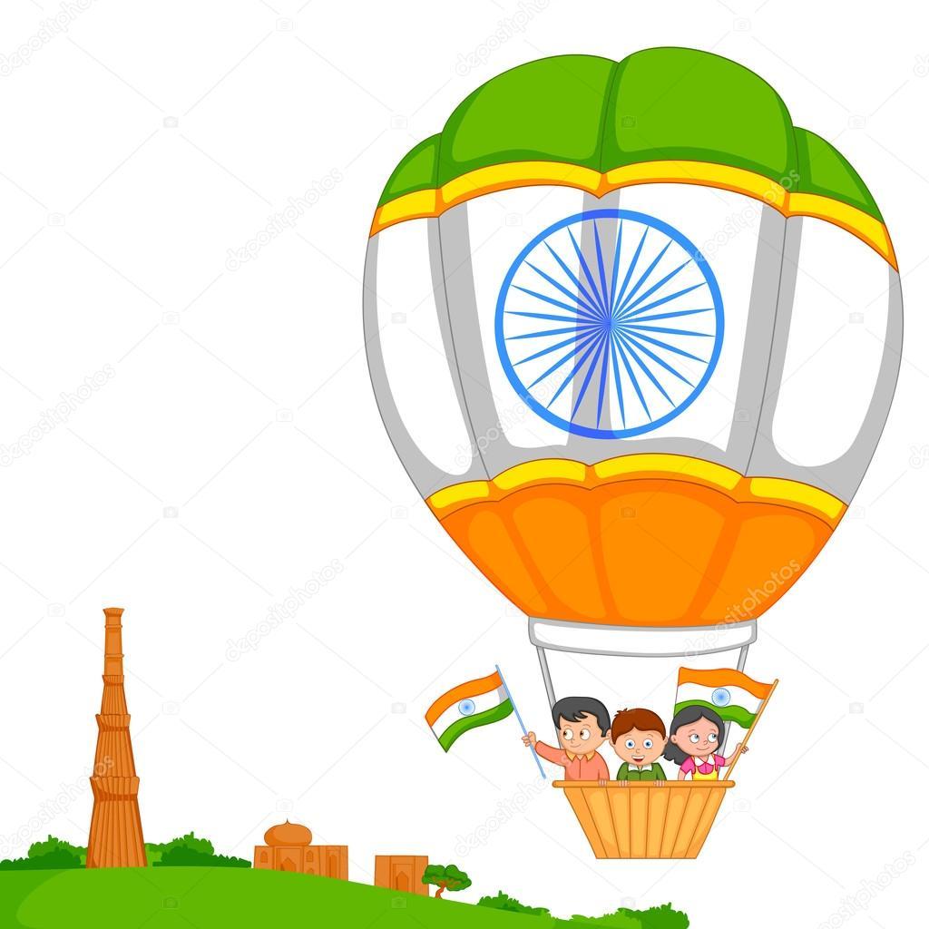 Indian kid hoisting flag of India