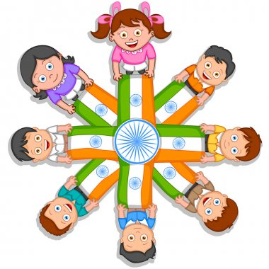 Indian kid hoisting flag of India in vector background stock vector