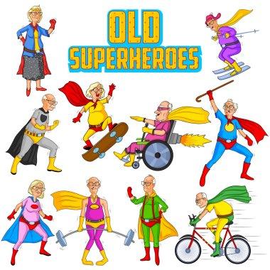 Retro style comics Superhero old man and woman
