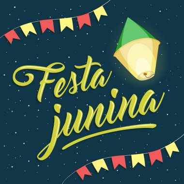 Festa Junina, brazilian june party lettering with balloon and fl