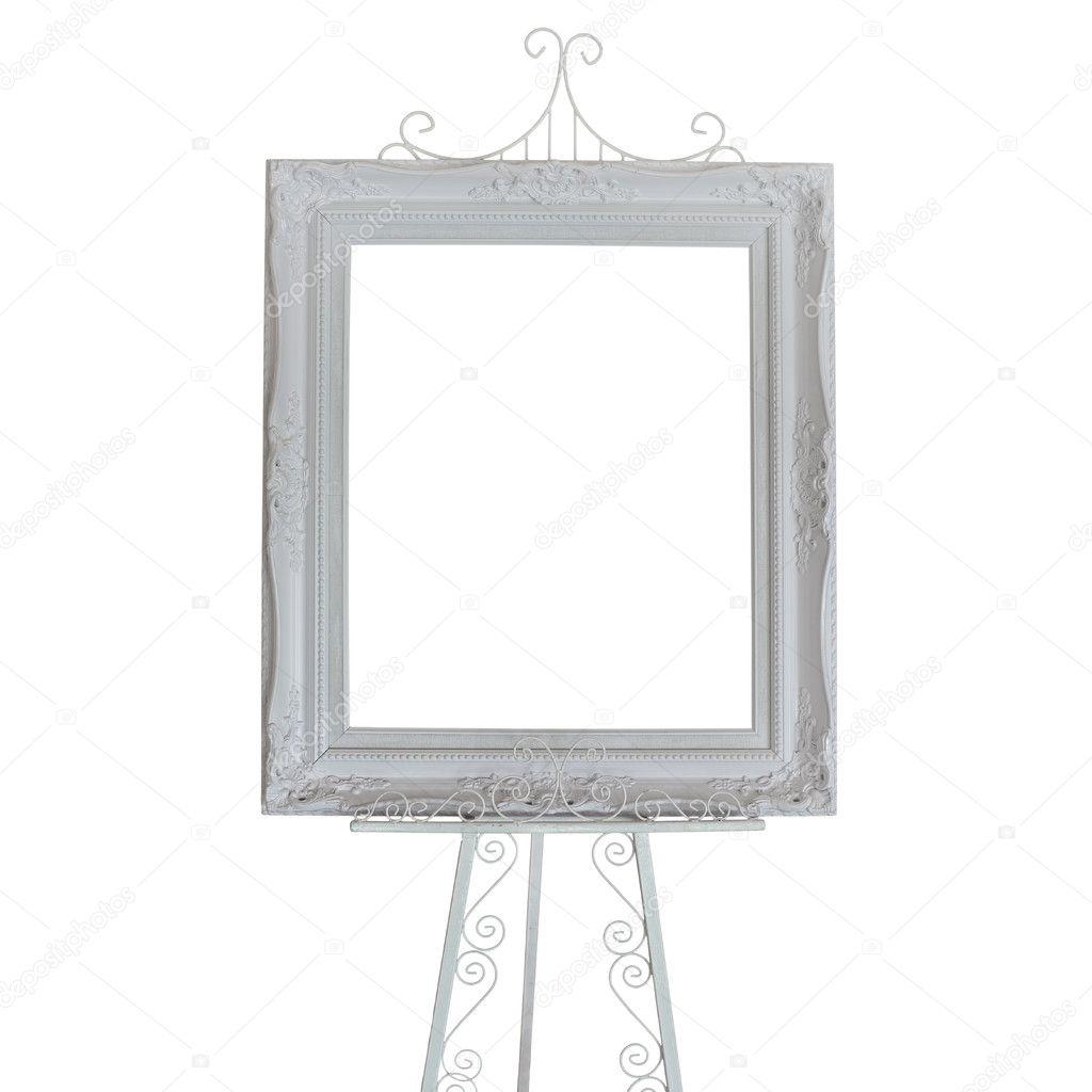 Antik weiße Bilderrahmen auf Stand Foto — Stockfoto © leisuretime13 ...