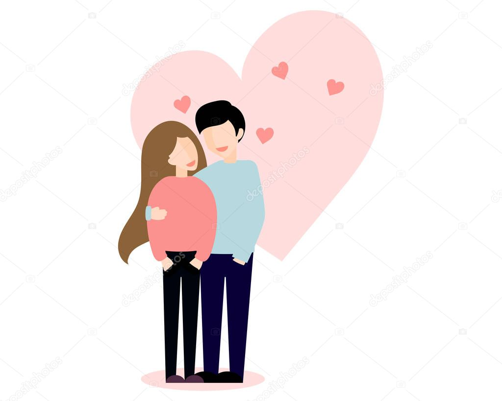 Couple of young man and woman vector flat style love illustration. Casual girl, guy, family Romance and Saint Valentine's Day concept. icon