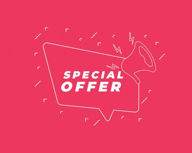 Special Offer icon. Megaphone banner. Discount offer price sign. Special offer symbol. Loudspeaker with speech bubble. Discount tag sign. Marketing and advertising tag. Vector. icon