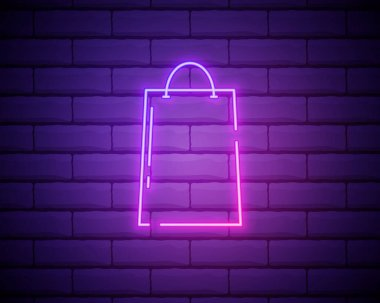 Shopping bag icon. Linear, thin outline. Neon style. Light decoration icon. Bright electric symbol. icon