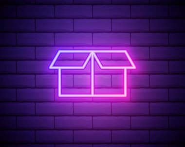 Neon light. Opened box line icon. Logistics delivery sign. Parcels tracking symbol. Glowing graphic design. Brick wall. Vector. icon