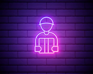 Package Courier Neon Sign. Vector Illustration of Delivery Promotion isolated on brick wall. icon