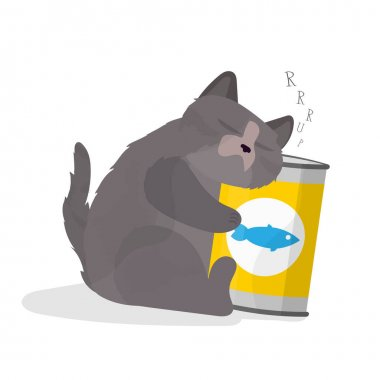 Funny chubby cat hugs a jar of food. Satisfied cat sticker. Good for postcards, t-shirts, positive themes. icon