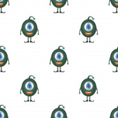 Photo Seamless pattern with one-eyed round green monster. Good for postcards, backdrops, gift paper and books. Vector.