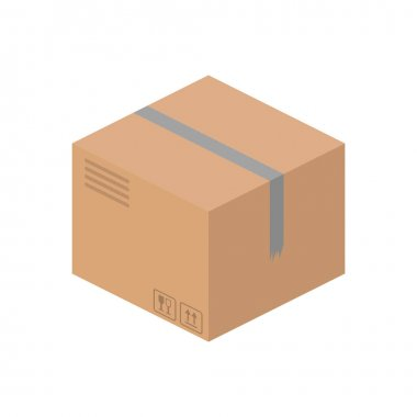 Cargo box in isometric style. vector icon