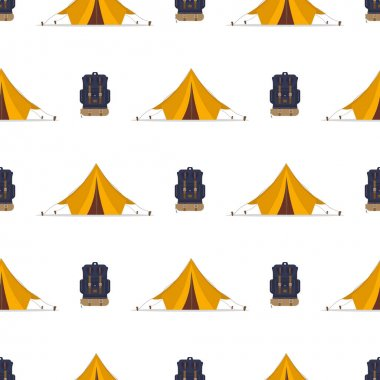 Seamless pattern with tent and backpack. Good on the topic of travel and camping. Vector. icon
