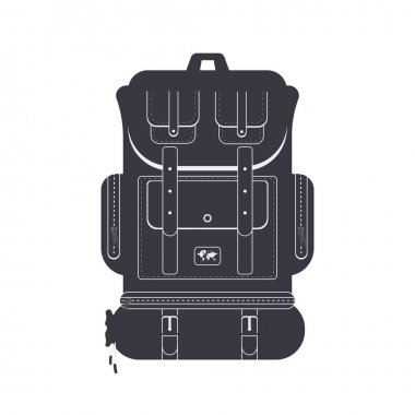 Backpack black icon, concept illustration, vector flat symbol, glyph sign. icon