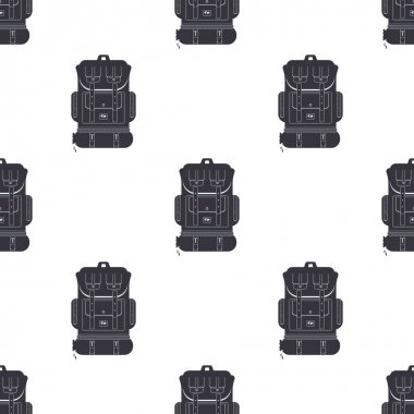 Backpack icon isolated on white background seamless pattern. Backpack for camping and mountain exploration. Vector icon