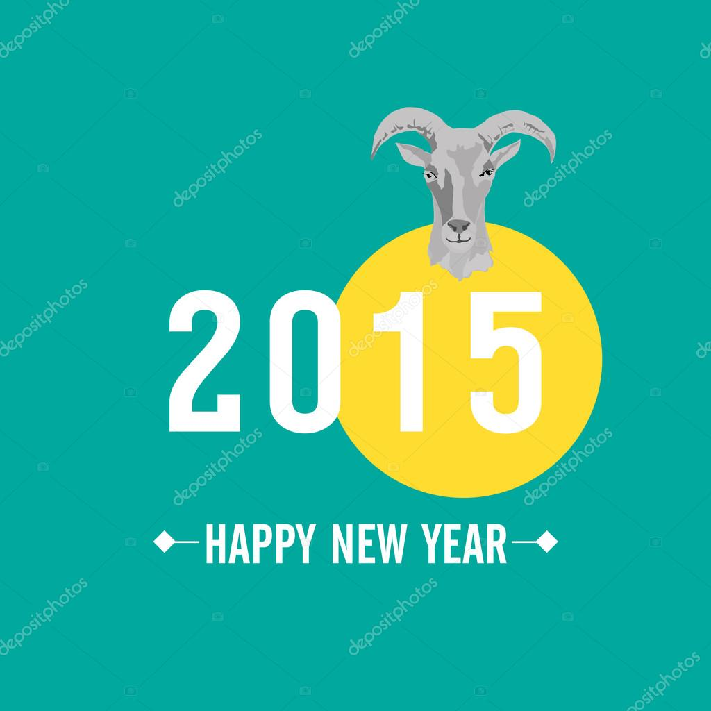2015 new year card with goat vector illustration stock vector