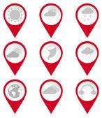 Fotografie Pin Kartensymbole klimatischen Bedingungen