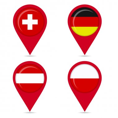 Map pin icons of national flags