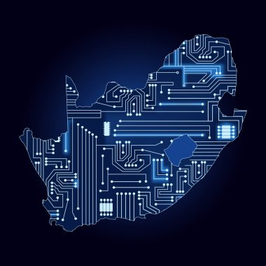 Map of South Africa with electronic circuit