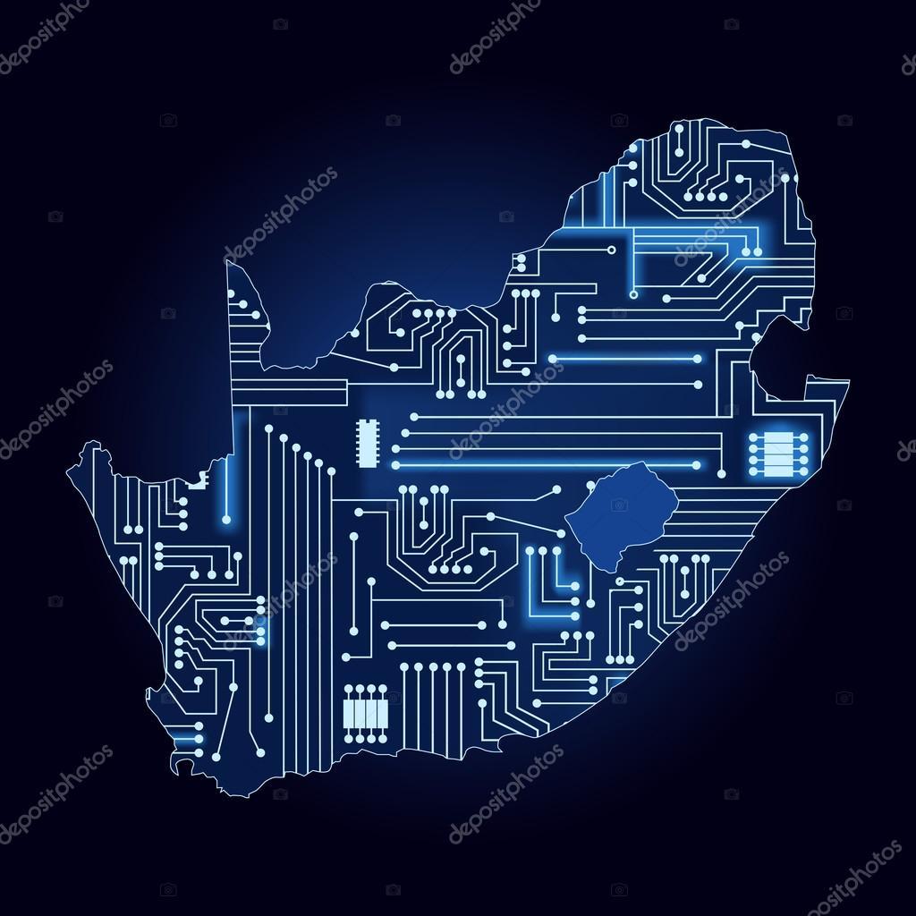 Karte von Südafrika mit elektronischer Schaltung — Stockvektor ...