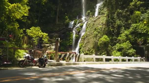 Tamaraw falls viewed from road in Puerto Galera, Philippines, pan