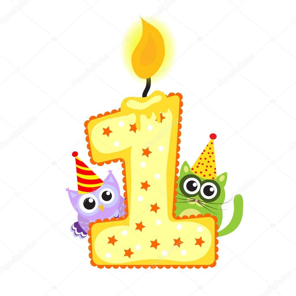 Feliz primer cumplea os vela y animales aislados en blanco - Feliz cumpleanos bebe 1 ano ...