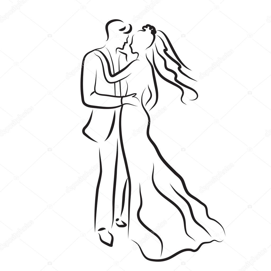 esküvői rajzolt képek menyasszony és a vőlegény, ifjú vázlatot, a sziluettje kézi rajz  esküvői rajzolt képek