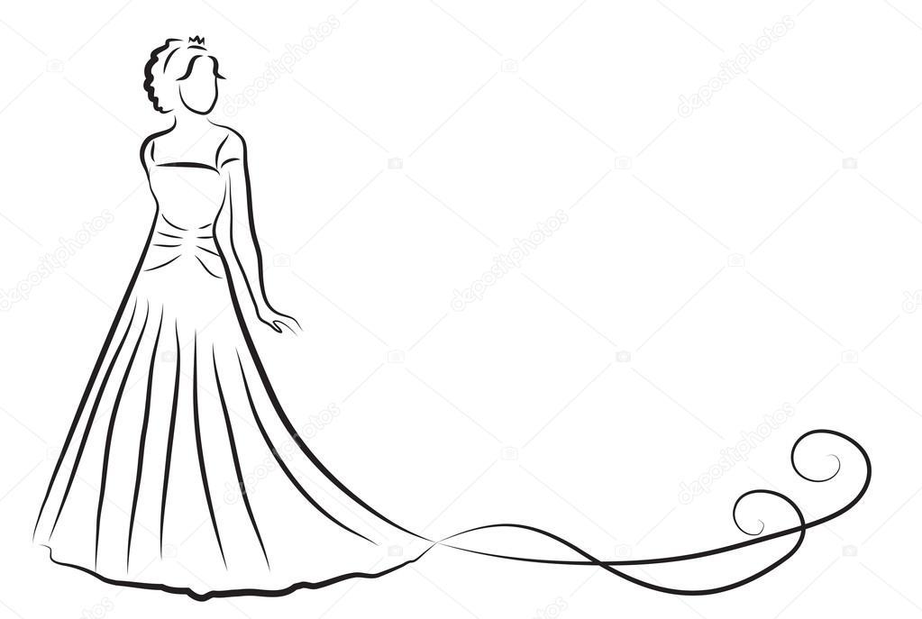 Bride Silhouette, Sketch bride, the bride in a beautiful ...