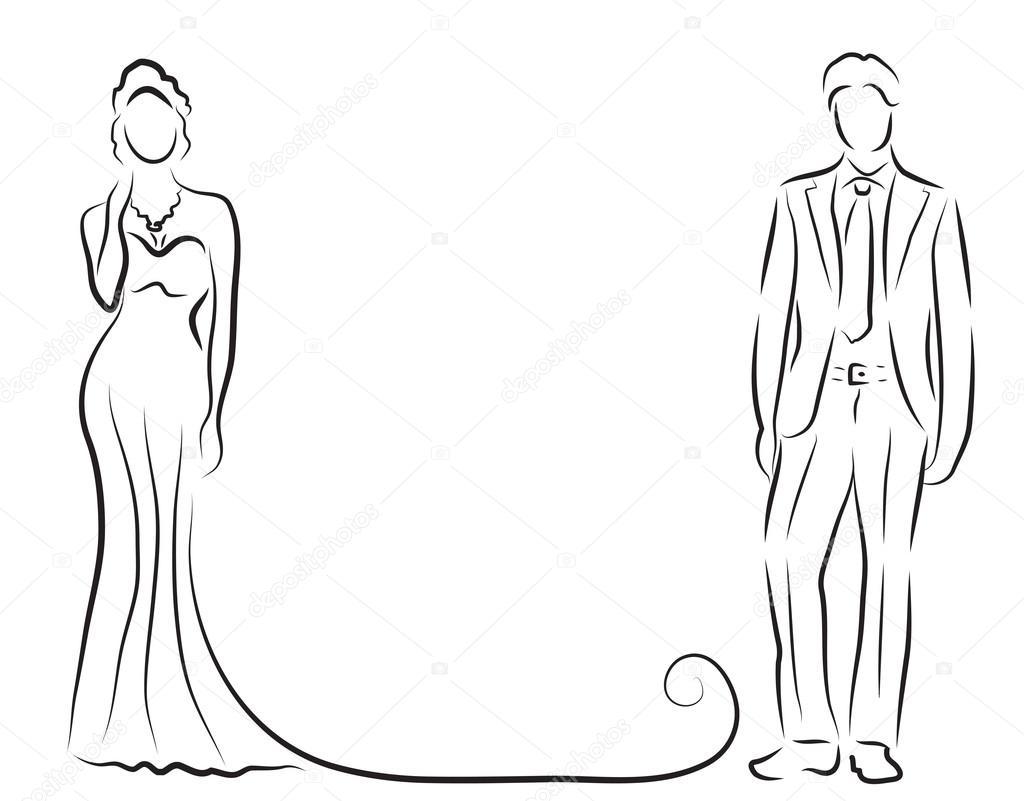 Line Drawing Wedding Couple : Silhouette de la mariée et le marié jeunes mariés croquis