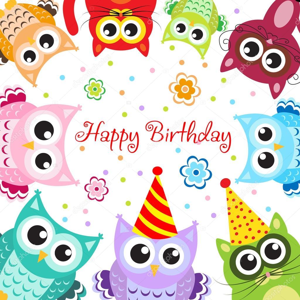 Happy Birthday With Animals Greeting Happy Birthday Baby Animals Stock Vector C Amelie1 112874002