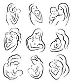 Fényképek Set silhouette sketch mother and child, mother holding a baby. Breastfeeding symbol logo. Hand drawing, line drawing. Vector illustration