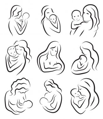 Set silhouette sketch mother and child, mother holding a baby. Breastfeeding symbol logo. Hand drawing, line drawing. Vector illustration