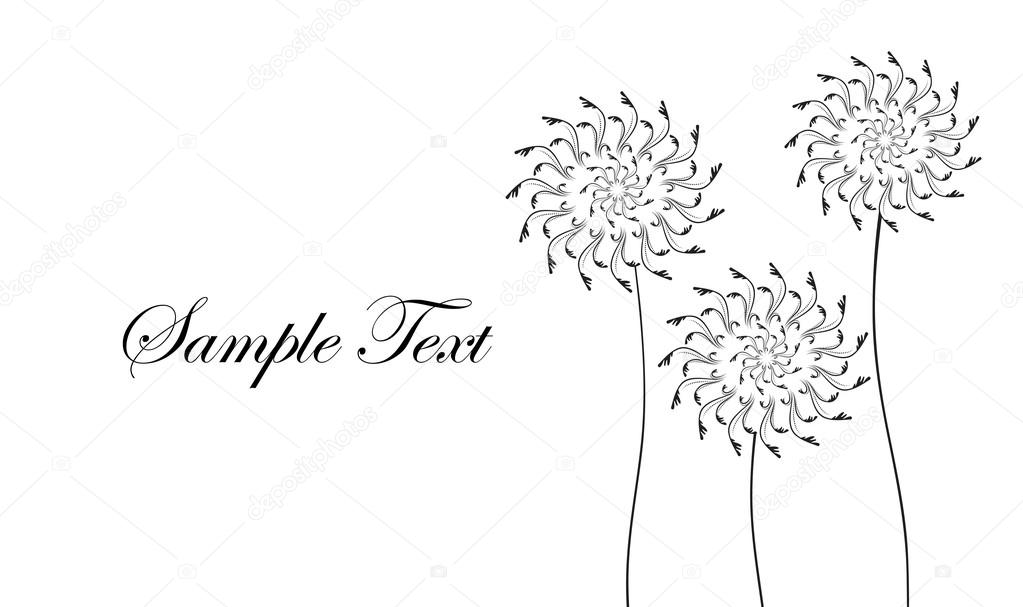 Card with abstract flowers dandelions black and white business card with abstract flowers dandelions black and white business card vector illustration reheart Choice Image