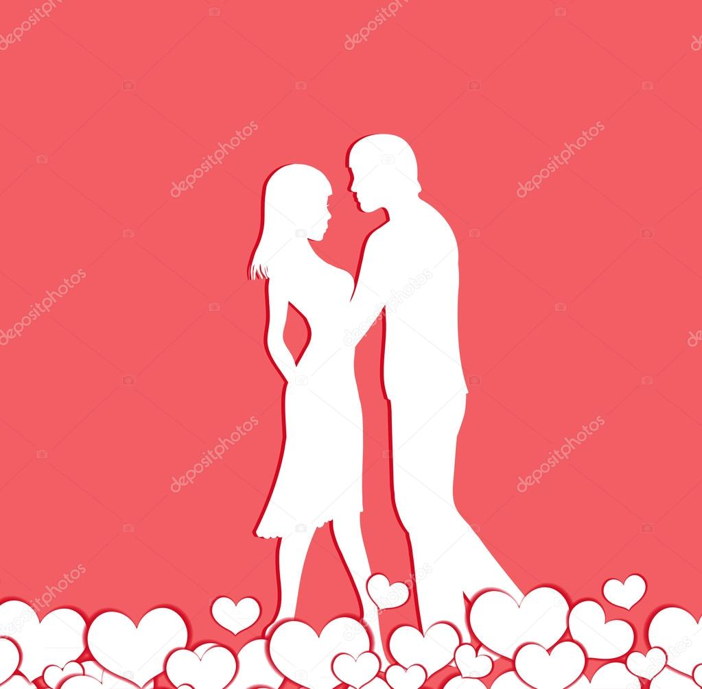 Couple Of Lovers Silhouette Happy Valentine S Day Vector Stock
