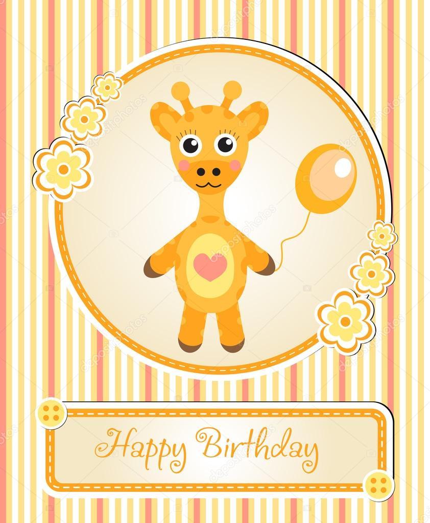 greeting template cute children's birthday party, cartoon giraffe