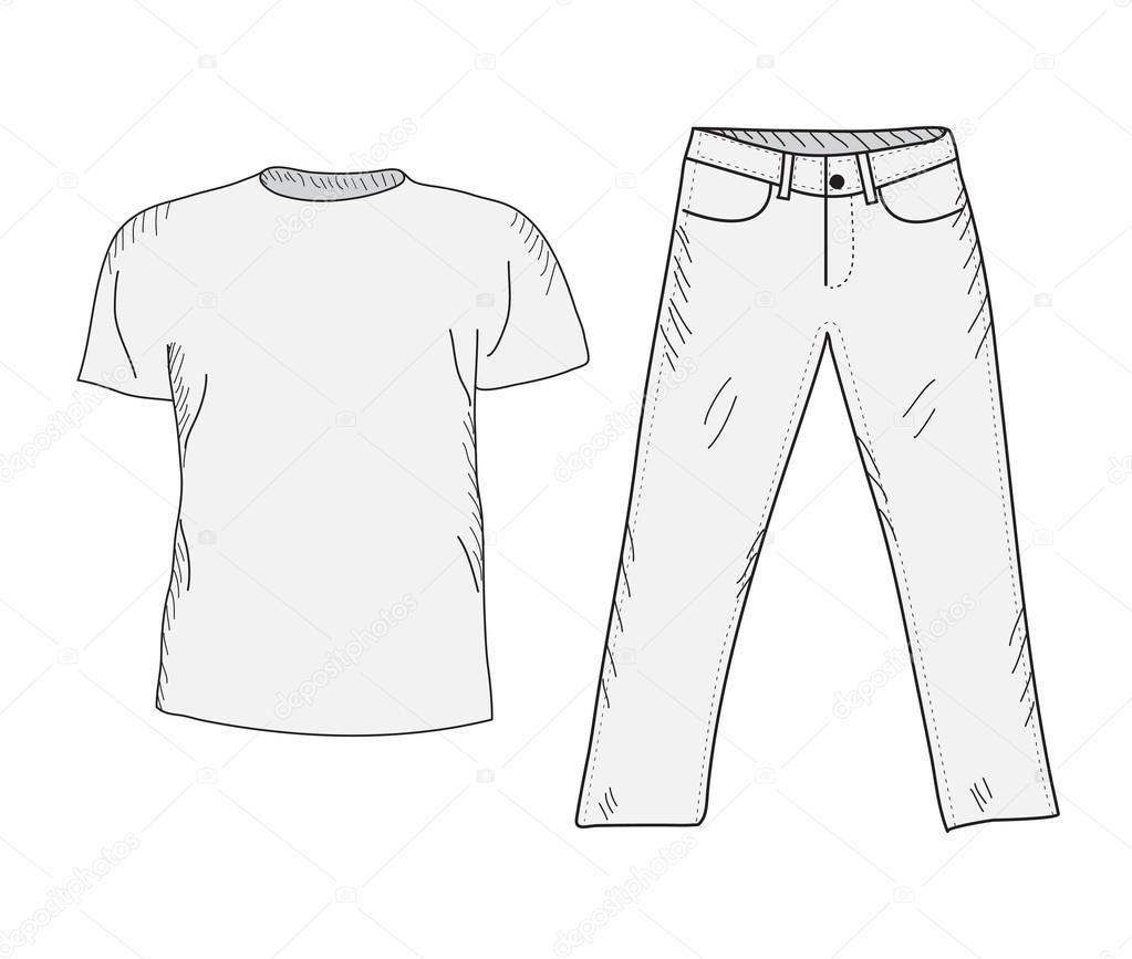 T shirt och jeans skiss upps u00e4ttning  Saker i stil med handen ritning  Kl u00e4der casual stil  T