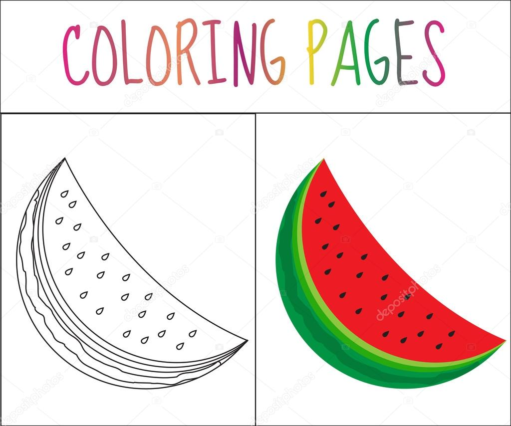 Coloring book page. Watermelon. Sketch and color version. Coloring ...