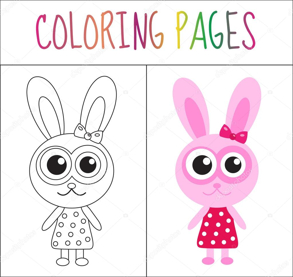 Coloring book page. Bunny, rabbit. Sketch and color version ...