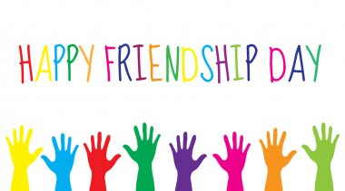 Greeting card with a happy friendship day. Greeting card colorful hands. Vector illustration clip art vector