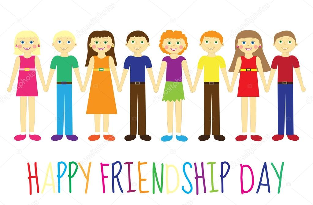 Greeting card with a happy friendship day greeting card cute kids greeting card with a happy friendship day greeting card cute kids cartoon holding hands vector illustration amelie1 vektr m4hsunfo