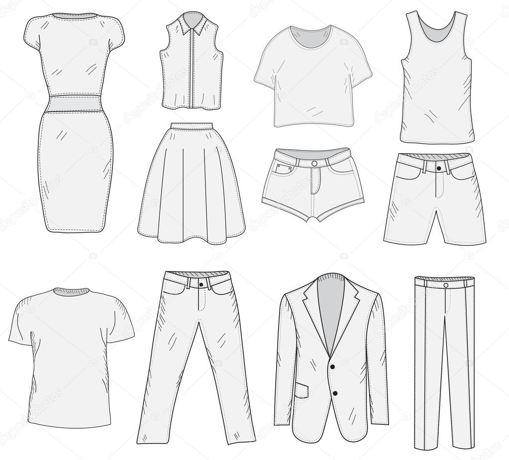 Men 39 S And Women 39 S Clothing Set Sketch Clothes Hand