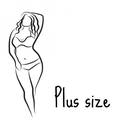 Girl silhouette sketch plus size model. Curvy woman symbol. Vector illustration