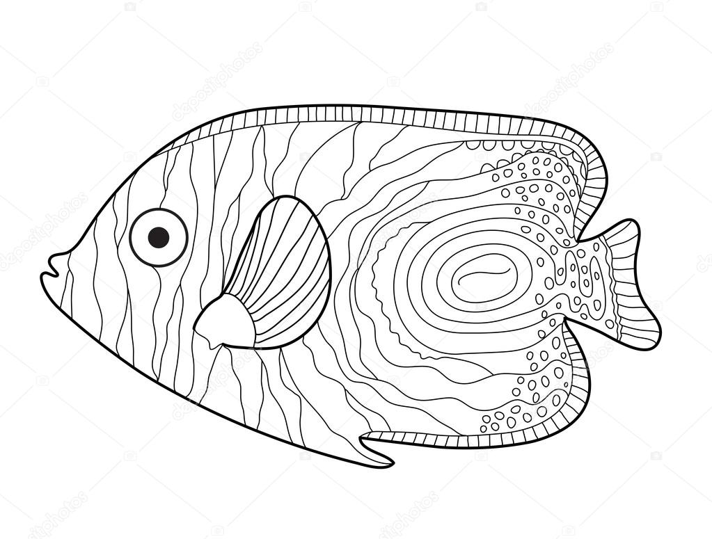 Fish Sketch doodle style. Hand drawing. Fish coloring book. Vector ...