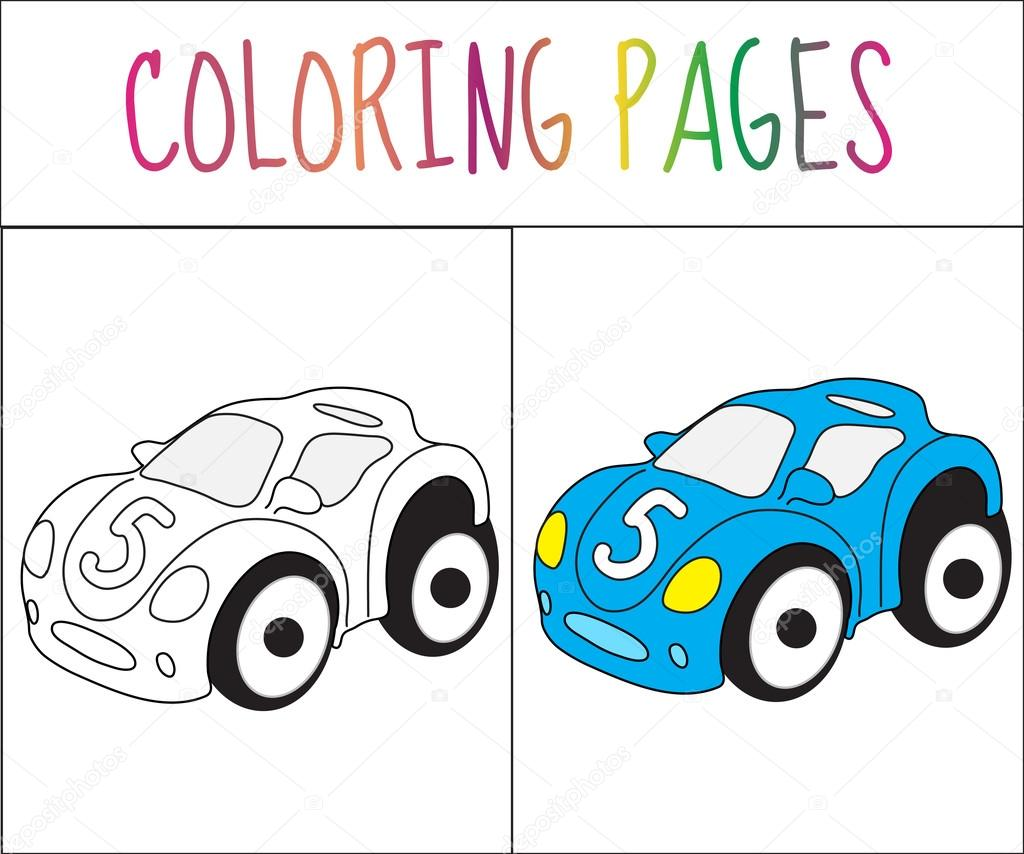 Coloring Book Page Toy Car Sketch And Color Version For Kids