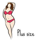 Mädchenskizze plus Größenmodell. kurvige Frau. Vektorillustration