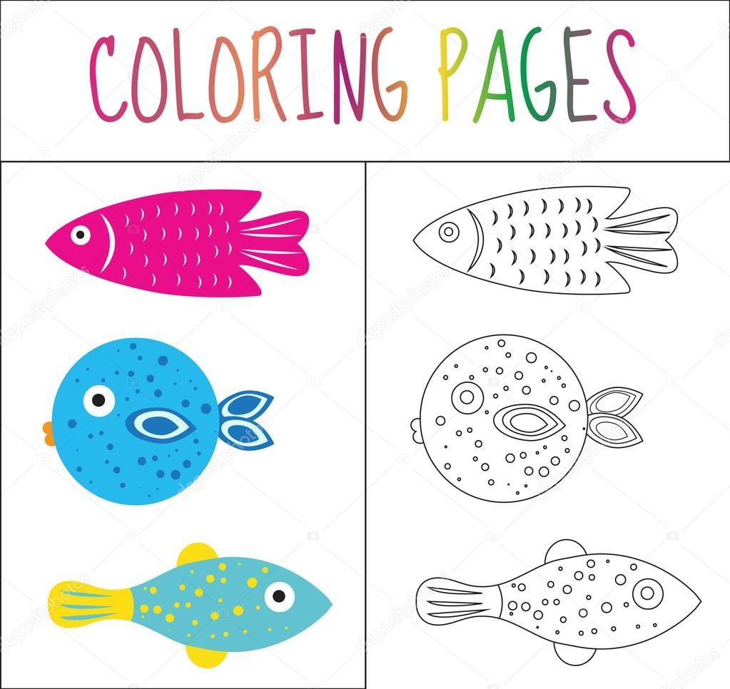 Página de libro para colorear. Coloque el pescado. Versión boceto y ...