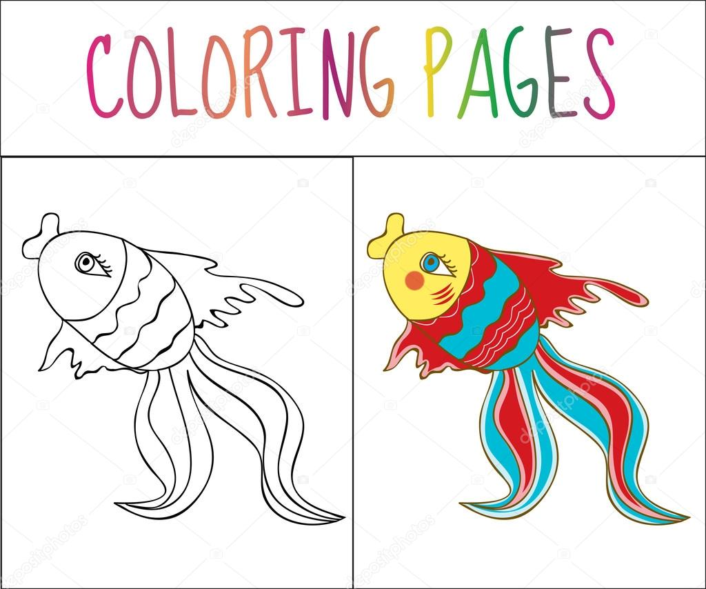 coloring book page fish sketch and color version coloring for kids vector illustration stock vector c amelie1 119585522 https depositphotos com 119585522 stock illustration coloring book page fish sketch html