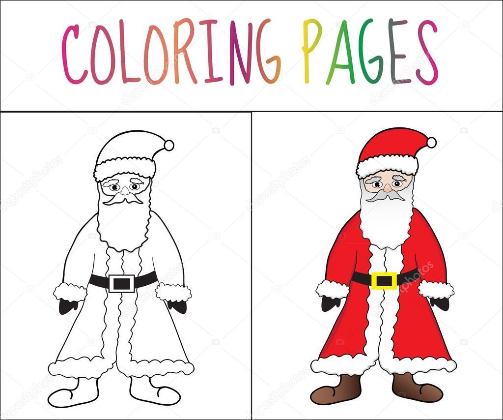 Coloring book page Santa Claus. Sketch and color version ...