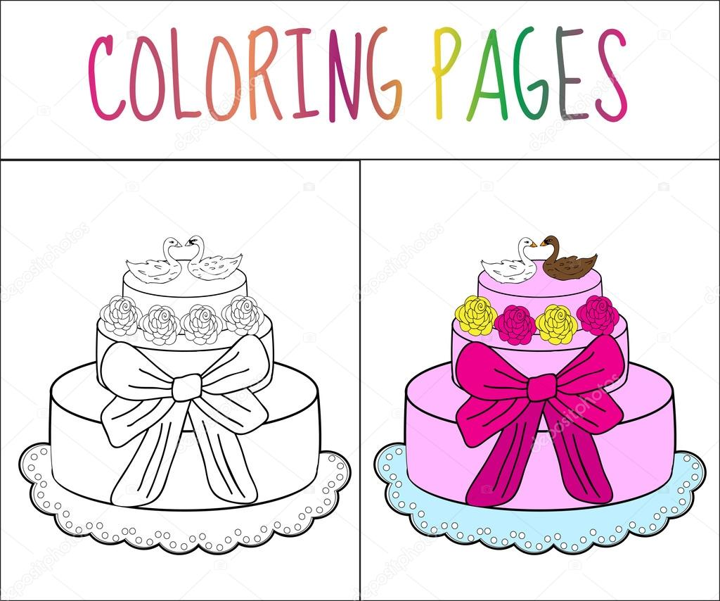 Coloring book page cake. Sketch and color version. Coloring for kids ...
