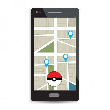 Smartphone with map locality. Pokeball on the map. Play a Mobile Game Using Location Information. Pokemon go, pokeball