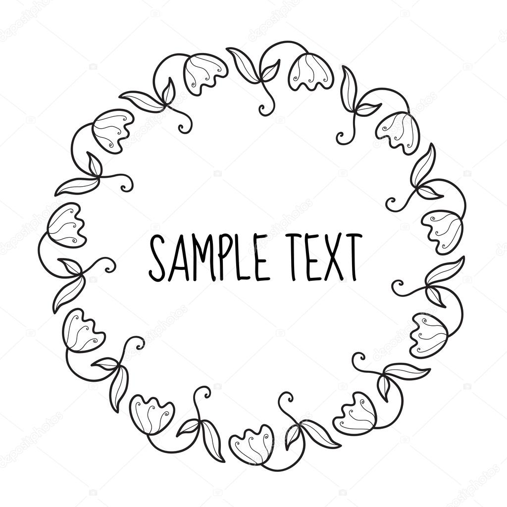 Floral round frame for text flower frame invitation flowers hand floral round frame for text flower frame invitation flowers hand drawing doodle style stopboris Choice Image