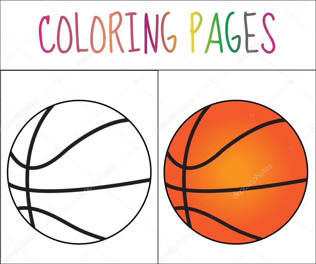 kleurplaat boek basketbal bal schets en kleur versie