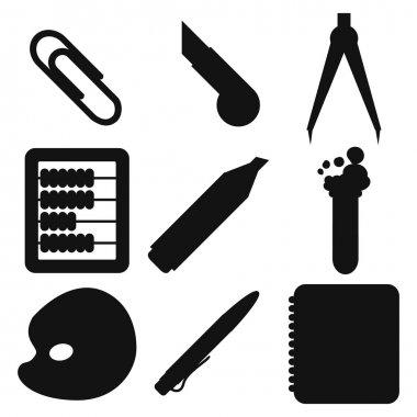 Black school goods silhouettes. Part 2.